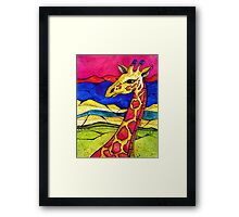 Colorful Giraffe in nature Framed Print