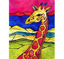 Colorful Giraffe in nature Photographic Print