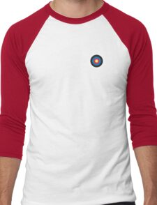 Bulls eye, on Breast, Red, White, Blue, Roundel, Target, SMALL ON BLACK Men's Baseball ¾ T-Shirt