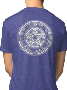 WICCA, White, Pentacle, Pentagram, Witch, Wizard, Modern, Pagan, Witchcraft, Religion, Cult Tri-blend T-Shirt