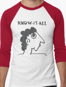 know-it-all - women's secrets, neighbor, meme, comic, cartoon, fun, funny Men's Baseball ¾ T-Shirt