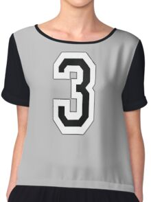 3, TEAM, SPORTS, NUMBER 3, THREE, THIRD, Competition Chiffon Top