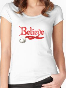 Believe Jingle Bell Christmas Women's Fitted Scoop T-Shirt