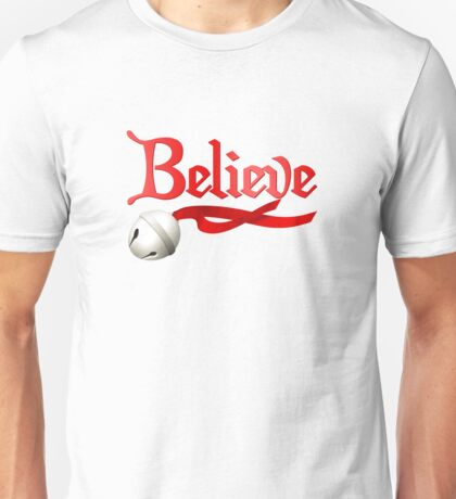 Believe Jingle Bell Christmas Unisex T-Shirt