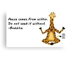 Giraffe Zenimal with Buddha Quote Canvas Print