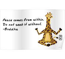 Giraffe Zenimal with Buddha Quote Poster
