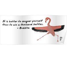 Flamingo Zenimal with Buddha Quote Poster