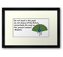 Peacock Zenimal with Buddha Quote Framed Print