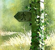 'Footpath Sign' - Watercolours. by Gee Massam