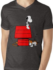 Snoopy and Hobbes Mens V-Neck T-Shirt