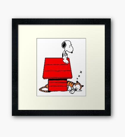 Snoopy and Hobbes Framed Print