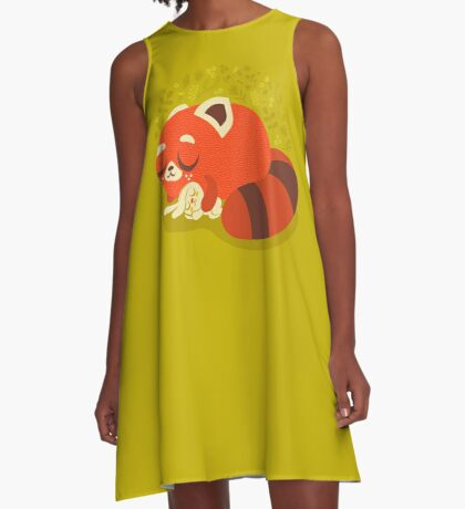 Sleeping Red Panda and Bunny A-Line Dress
