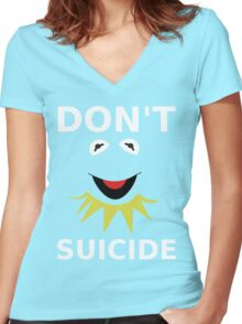 Don't Kermit Suicide Women's Fitted V-Neck T-Shirt