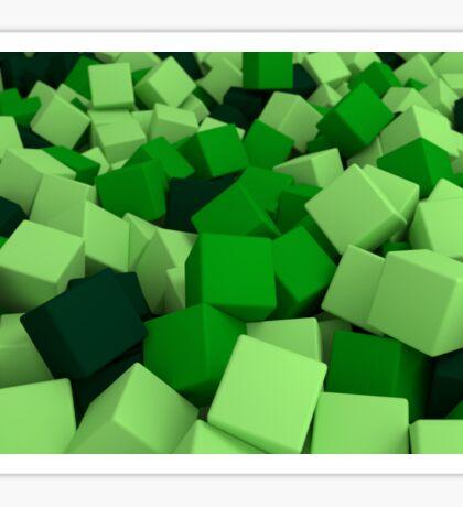 3d bulk of green cubes Sticker