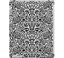 Funny Black and White Seamless Pattern Background with Flowers, Leaves, Crown, Egg, Key, Etc. iPad Case/Skin