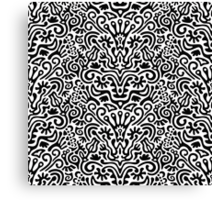 Funny Black and White Seamless Pattern Background with Flowers, Leaves, Crown, Egg, Key, Etc. Canvas Print