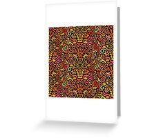 Funny Colorful Seamless Pattern with Abstract Flowers, Leaves, Hearts, Crowns, Eggs, Keys, Etc. on Black Background Greeting Card