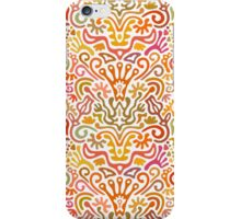 Funny Colorful Seamless Pattern with Abstract Flowers, Leaves, Hearts, Crowns, Eggs, Keys, Etc. on White Background iPhone Case/Skin