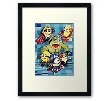 Cute caricature parody comics superheroes Group Framed Print