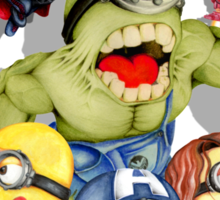 Cute caricature parody comics superheroes Group Sticker