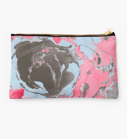 Red, blue and black marble texture. Studio Pouch