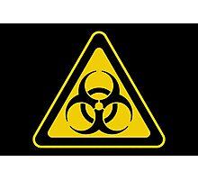 Biohazard Symbol Warning Sign - Yellow & Black - Triangular Photographic Print