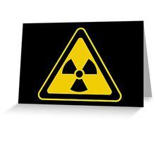 Radioactive Symbol Warning Sign - Radioactivity - Radiation - Yellow & Black - Triangular Greeting Card