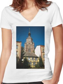 Stralsund, Mecklenburg Western Pomerania, Germany. Women's Fitted V-Neck T-Shirt