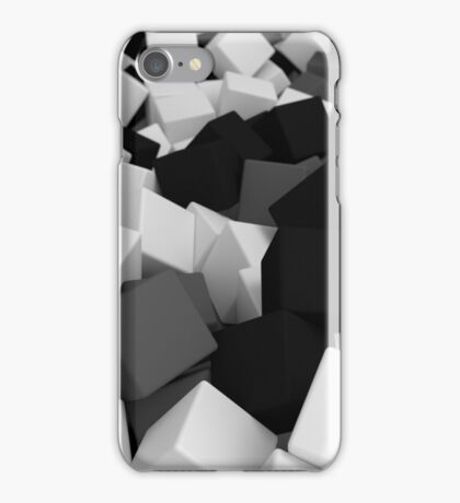 3d pile of black and white cubes iPhone Case/Skin