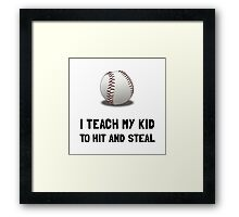 Hit And Steal Baseball Framed Print