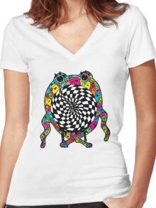 Warp Monster Women's Fitted V-Neck T-Shirt