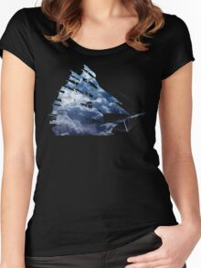 cloud sailing ship Women's Fitted Scoop T-Shirt