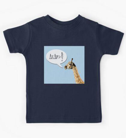 Clever giraffe explains Heisenberg uncertainty principle. Kids Tee