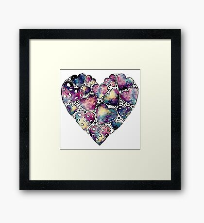 Watercolor Funny Heart  Framed Print