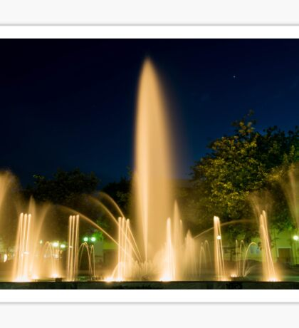 Illuminated Fountains Against Clear Sky At Night Sticker