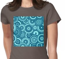 Mod Target concentric circles repeating pattern, aqua, marine blue Womens Fitted T-Shirt