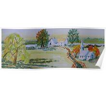 Farmhouse and Church Landscape Poster