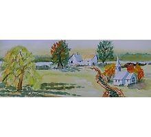 Farmhouse and Church Landscape Photographic Print
