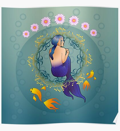 The journey of the mermaid in blue Poster