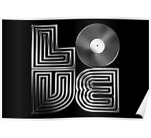 Record Love - Metallic - Chrome Poster