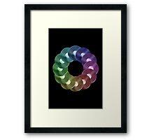Ring of Vinyl LP Records - Metallic - Rainbow Framed Print
