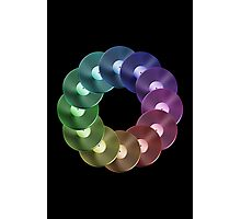 Ring of Vinyl LP Records - Metallic - Rainbow Photographic Print