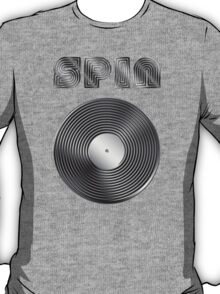 Spin - Vinyl LP Record & Text - Metallic - Steel T-Shirt