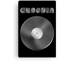 Groovin - Vinyl LP Record & Text - Metallic - Steel Canvas Print