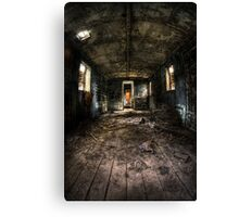 Old train carriage interior with light intruding Canvas Print