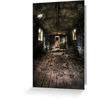Old train carriage interior with light intruding Greeting Card