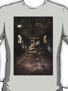 Old train carriage interior with light intruding T-Shirt