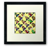 Super Mario Kart / 18 characters pattern / yellow sky Framed Print