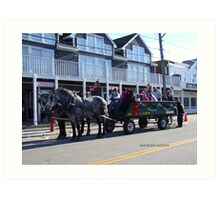 hay ride in watch hill on thanksgiving Art Print
