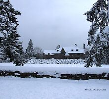 snow on the castle in Watch Hill by Maureen Zaharie